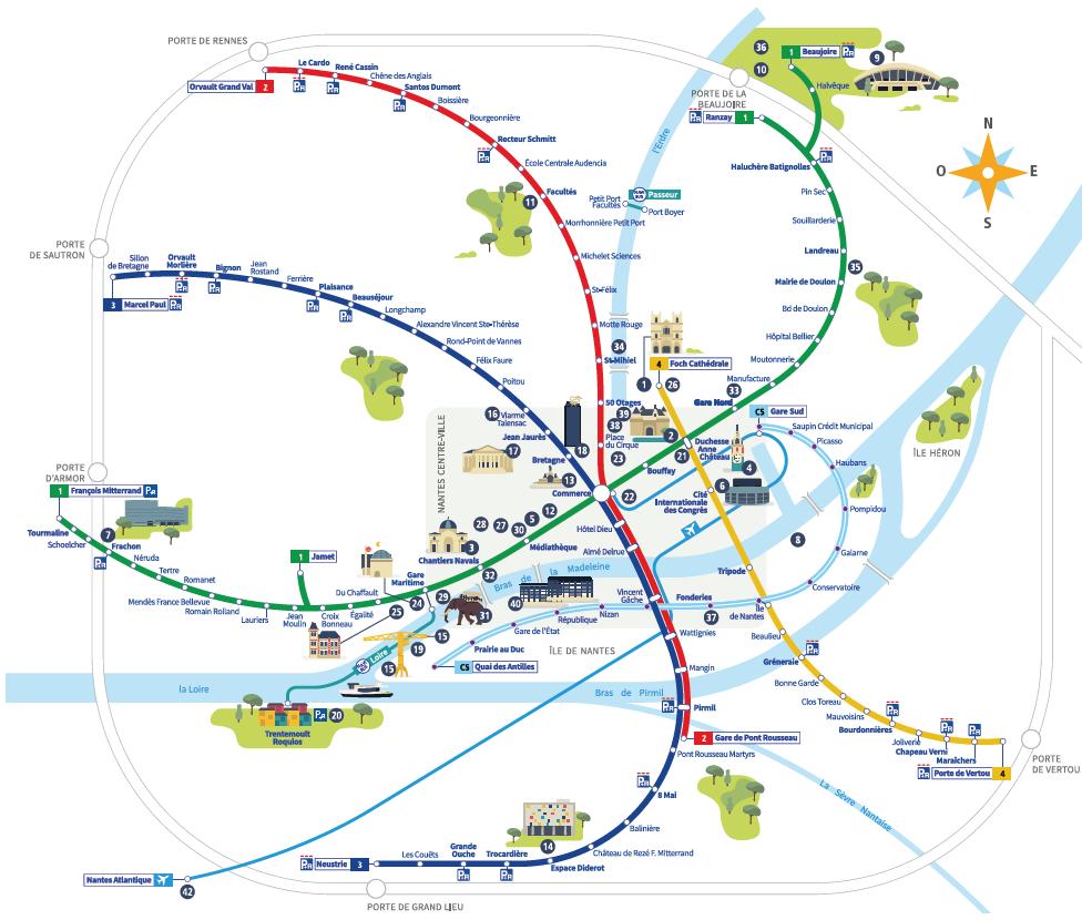 Plan des tramway et busway du réseau Tan